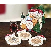 Lovely Wooden Christmas Santa Coasters, set of 6