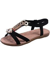 Transer® Damen Sandalen Flach Künstliches PU+Gummi Schmetterling Wulstig  T-Gurt Schwarz Beige Rot Sandalen (Bitte achten Sie auf die… c93aa8e934