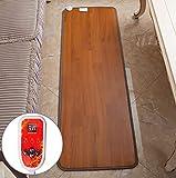WWSUNNY Heizteppich,Thermisches Heizmatte Beheizter HeatMaster Teppich Pad-Schreibtisch Mit LCD-Anzeige Stufenlos Einstellbare Temperatur Fußmatte 50x155cm 50W(anthrazit) Dunkle Holzmaserung