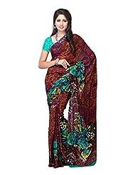 Ambaji Brown Georgette Printed Saree Sari Sarees - B00W5GAMC8