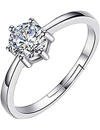 Trifycore Mujer anillo de compromiso 925 de dirección del corte redondo anillo de compromiso de zafiro