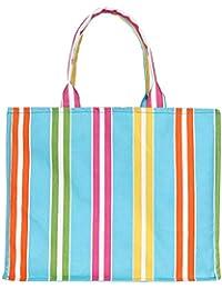 Women's Canvas Tote Shoulder Bag Stylish Shopping Bag Foldaway Travel Bag (Sky Blue)