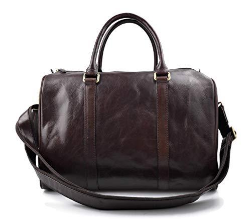 Leder reisetasche dunkel braun kleine tasche leder sporttasche reisetasche leder schultertasche herren damen umhängetasche made in Italy - Dunkle Gepäck