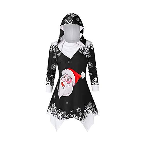 VEMOW Heißer Einzigartiges Design Mode Damen Frauen Frohe Weihnachten Schneeflocke Gedruckt Tops Cowl Neck Casual Sweatshirt Bluse(Y3-Schwarz, 36 DE/M CN)