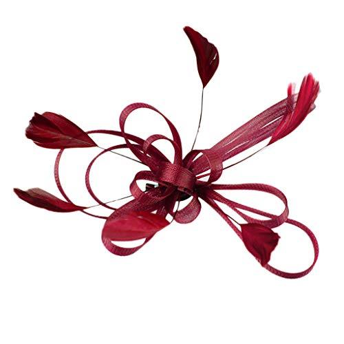 Inspirierte Kostüm Wein - WERVOT Fascinators Hat Flower Mesh Bänder Federn auf Einem Stirnband Tea Party Headwear(Wein,Free size)