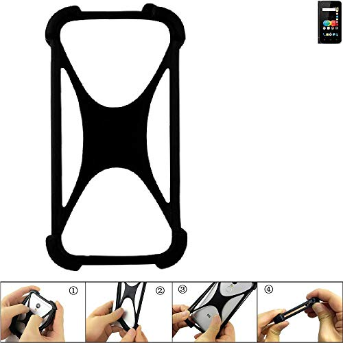 K-S-Trade Handyhülle für Allview P4 eMagic Schutz Hülle Silikon Bumper Cover Case Silikoncase TPU Softcase Schutzhülle Smartphone Stoßschutz, schwarz (1x)