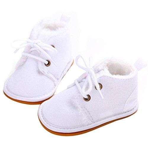 BZLine - Unisexe Bébé Coton Chaussure aux lacets - Semelle à caoutchouc - Multicouleur (0~6 Mois, Pink) Blanc