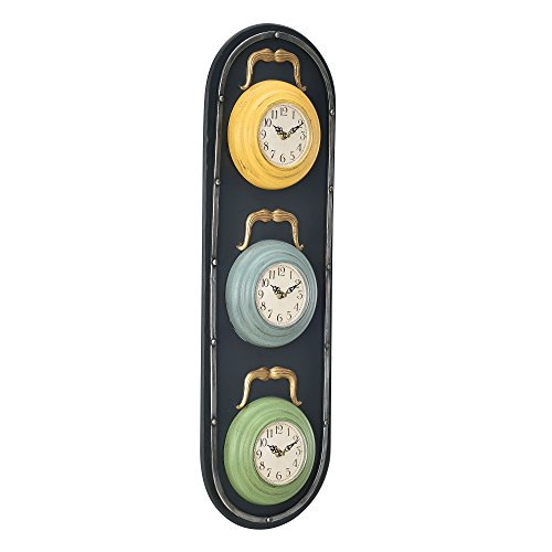 [en.casa]® Décorative Horloge murale feu design + affichage analogue - 25 x 4,5 x 80 cm - multicolore