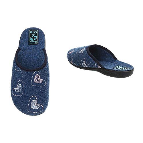 Pantaloncini Corsivo Design Italiano Pantofole Pantofole Scarpe Casual Blu 19257