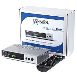 Anadol HD 202c-s Plus digitaler Full HD 1080p Kabel-Receiver [Kabelfernsehen für jeden Kabel-Anbieter geeignet] HDTV, DVB-C / C2, HDMI, SCART, Coaxial, Mediaplayer, USB 2.0 - Kabelreceiver Silber