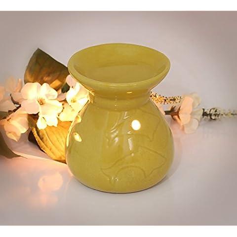 Stock limitado - SouvNear esencial difusor de aceites - 11.4 cm - amarillo - cerámico - vela titular para casa, spa, hotel, restaurante, recurso