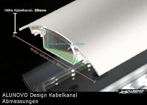 TV Design Aluminium Kabelkanal in schwarzmatt Feinstruktur lackiert in verschiedenen Längen von ALUNOVO (Länge: 20cm) - 5