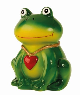 Spardose Frosch 10 cm grüner Froschkönig mit Herz aus Keramik (Spardose Frosch)