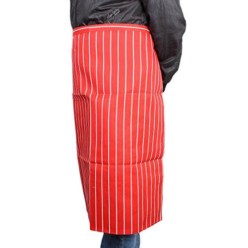 sourcingmap® Noir Tablier à bavette amants Femme Salon de coiffure Restaurant Cuisine en étoffe à raies Poche Red Vertical Stripes