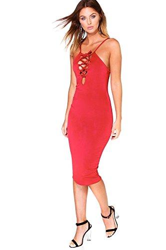 Rubin Damen Aida Lace Up Front Midi Dress Rubin