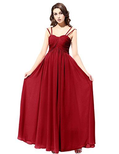 Dresstells Robe de demoiselle d'honneur Robe de cérémonie bretelles classiques longueur ras du sol Rouge Foncé