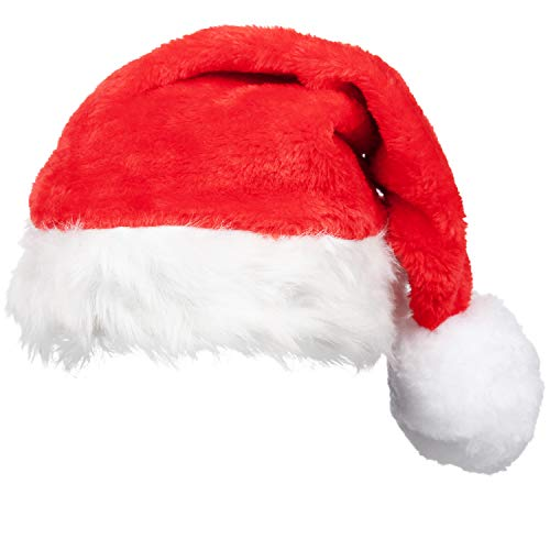 Adult Super Deluxe Santa Hat - Father Christmas Red White Bobble - Santa  Claus Fancy Dress Accessory 1a3c53d87499