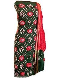 KATHIWALAS Women's Cotton Silk Bandhani Unstitched Dress Material KA152 Free