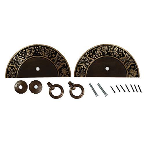 MOONQING Metall Retro Schublade zieht Griffe Geschnitzte antike Küchenschränke Möbel Kleiderschrank Griff Halbkreis Knopf, Bronze (Antik Schublade Zieht)