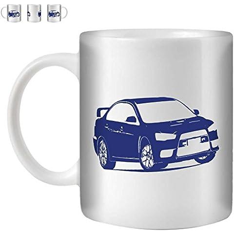 STUFF4 Tazza di Caffè/Tè 350ml/Blu/Lancer Evo X/10/Ceramica Bianca/ST10