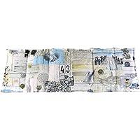 Körnerkissen Wärmekissen Dinkelkissen 60x20 Maritim weiß/beige/blau mit Schutzengel Schlüsselanhänger 100% Baumwolle 200g/qm