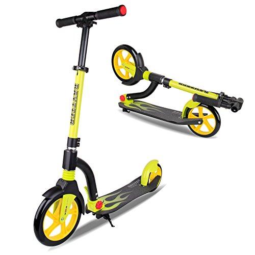 BAYTTER faltbar Cityroller Kinderroller für Kinder ab 8 Jahre und Erwachsene, Roller aus Aluminiumlegierung, in 3 Höhen verstellbar, mit Dämpfungssystem am Vorderrad und PU-Rädern ausgestattet (gelb)