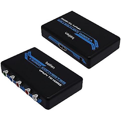 Belfen Adaptador convertidor escalador de audio y vídeo YPbPr a HDMI, 5RCA para PSP, XBOX, HDTV, incluye cable de vídeo YPbPr y cable de audio R/L, Plug & Play, no necesita software, no compatible con Windows 10