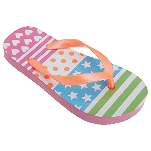 FLOSO® Childrens Girls Multi Patterned Toe Post Flip Flops (UK Child 11-12) (Green/Blue/Orange/Fuchsia)