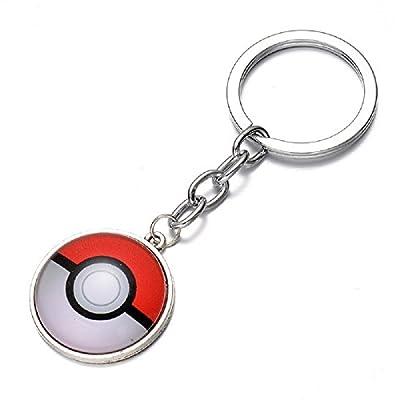 Llavero colgante cabujón Pokemon Ir empuje Ball 'Pokeballs blanco y rojo