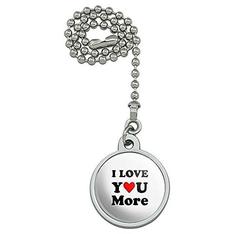 I Love You More avec cœur ventilateur de plafond et chaîne de Tirette pour luminaire