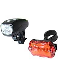 Clamaro 'Firefly' LED Fahrradlampenset wasserresistent - Fahrradlicht mit Frontlich und Rücklicht batteriebetrieben, Helligkeit vorne: 60 Lumen pro m² (ca. 10-15 m langer und 1 m² breiter Lichtstrahl), Fahrrad Lampenset mit Vorderlicht, Heckleuchte und universal Lenker Halterung vorne mit Schnellverschluss, hinten zum fest verschrauben