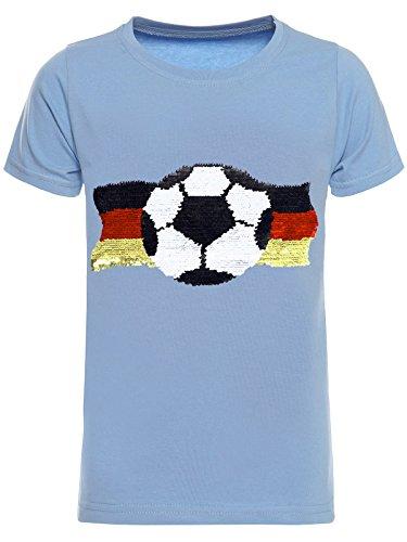 Deutschland Jungen Kinder Wende-Pailletten Fussball WM 2018 Fan T Shirt 22513, Farbe:Blau, Größe:152