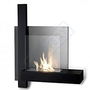 Bioethanol Wall Fireplace with a Litre of Bioethanol and Lighter Black