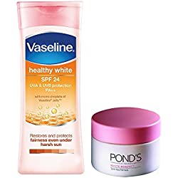Vaseline Healthy White SPF 24 Body Lotion, 300ml with Free POND'S White Beauty Daily Spotless Fairness Cream, 25g