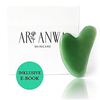 ARI ANWA - Echter Gua Sha Jade Stein   100% Jade   KOSTENLOSES E-BOOK   Original & Qualitativ hochwertige Verarbeitung   Beauty und Lifting Tool - Gesichtsmassage Gua Sha   Jade Gua Sha