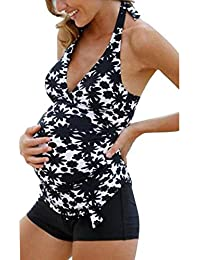 26bd103f73 Hibote Maternity Swimsuit Women's Pregnancy Halter Floral Tankinis Swimsuit  Black