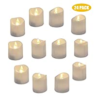 Yeahmart Pack of 24 Realistic and Bright Led Candle Lights, Battery Operated LED Tealights, Flameless Tea Lights with Warm White Bulb Light for Wedding, Table, Gift, Outdoor