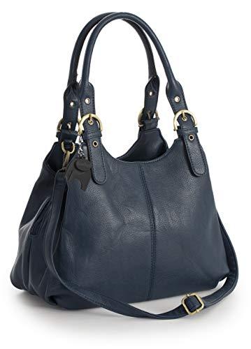 Big Handbag Shop Mehrfachtaschen Mittlere Größe Umhängetasche/Schultertasche für Frauen - Mit langem Schulterriemen und eine kleine Taschencharme (Mit Schwarz Einfassung - Marine Blau) - Designer-medium-tote -