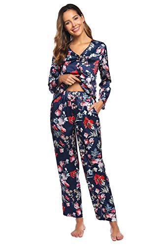 Schlafanzug Knöpfe Damen Set Blumen Pyjama Set Satin Zweiteiliger Pajamas Hausanzug Pijama Bunt M (Satin Floral Pyjama)