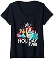 Femme Disney Princess Ariel Snow White Jasmine Best Holiday Ever T-Shirt avec Col en V