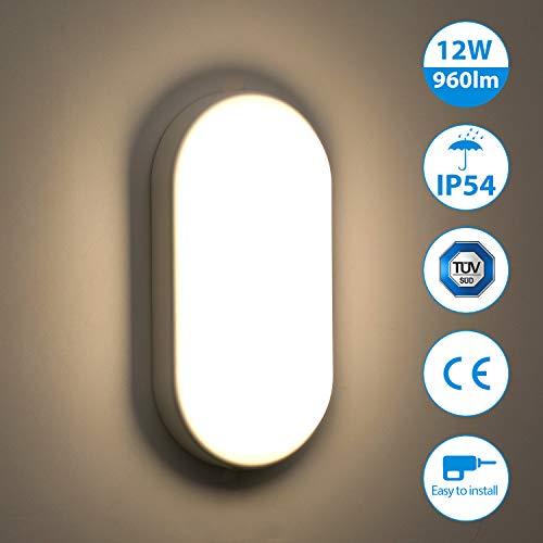 Oeegoo 12W LED Deckenleuchte Bad, IP54 Wasserfest Feuchtraumleuchte 960lm led Badezimmerlampe, Flimmerfreie Deckenlampe Wandleuchte für Kinderzimmer, Keller, Diele, Flur, Balkon, Werkstatt, 4000K