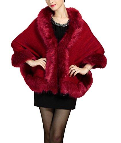 Plaer donne faux pelliccia di volpe scialle mantello berretto con floreale (bordeaux)