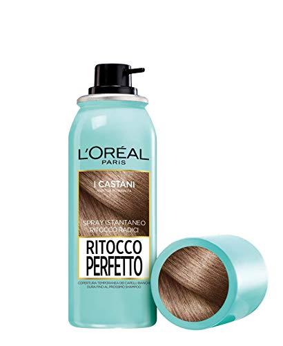 LOréal Paris Ritocco Perfetto Spray Ritocco Radici Colorazione Ricrescita Copre i Capelli Bianchi e Dura 1 Shampoo 3 Castano 75 ml