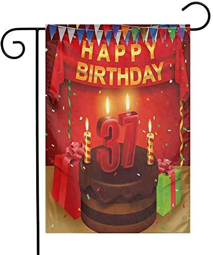 Nette Halloween Kuchen Designs - Gardesse Druckgarten-Flaggen-37. Geburtstags-Schokoladen-Kuchen-Geschenk-Ballon-Flaggen-Nette Ikonen-Kerzen-künstlerisches Design-Bild-helle Yard-Flaggen