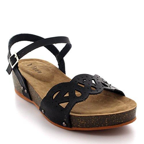 Donna Zeppa Suola In Legno Open Toe Caviglia Cinghia Diamante