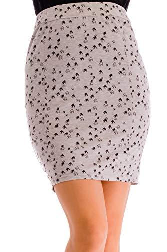 ÇA VA BIEN FASHION Damen Mädchen Bleistiftrock Größe 34 (Small) Grau (Printed Grey) (Frauen Trikot Kleid Form)