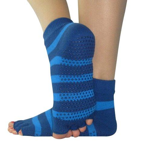 Preisvergleich Produktbild YOKIRIN® Baumwolle mit Massage Punkt Drain Zehe Yoga Socken Blue Streak