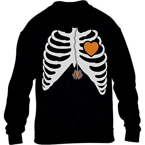 Geister Holloween Kostüm - Halloween Kostüm Skelett Pulli mit Spinne und Herz Kinder Pullover Sweatshirt M 140 Schwarz