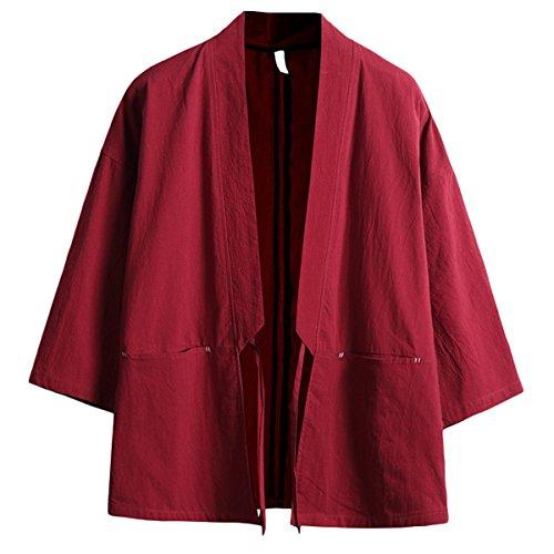 PRIJOUHE Prijoue Herren japanische Mode Kimono Cardigan Übergröße Yukata Casual Baumwolle Leinen Sieben Ärmel leicht - - Klein Mode Kimono