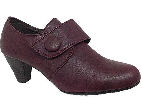 Ladies Heidi Cushion Walk Purple Faux Leather Button Pixie Trouser Ankle Boots...